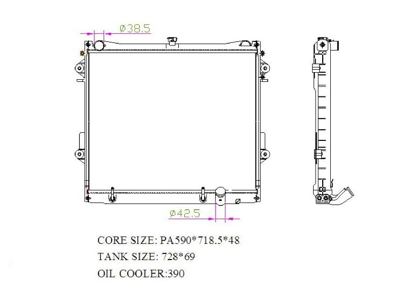 Радиатор охлаждения двигателя TOYOTA LAND Cruiser 200 / LEXUS LX570 3URFE 2008- (TOY09200 E.C.H.O.)